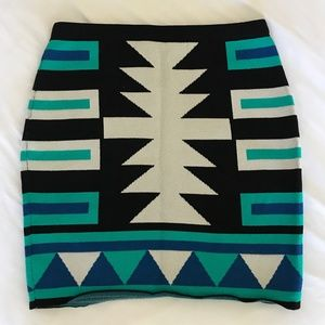 Rachel Roy High Waisted Blue Aztec Skirt
